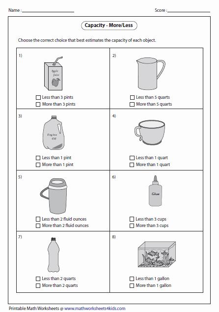 Capacity Worksheets 3rd Grade Fresh Correct Unit Of Capacity Measures
