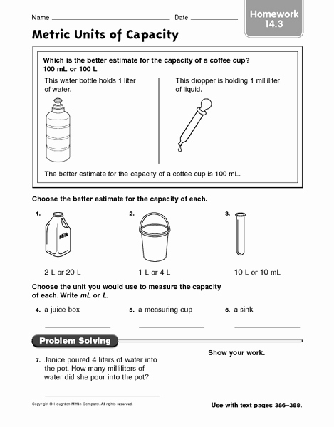 Capacity Worksheets 3rd Grade Lovely Metric Units Of Capacity Homework 14 3 Worksheet for 3rd