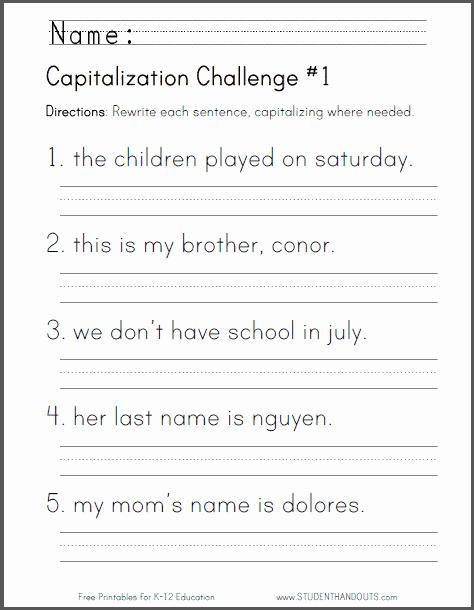 Capitalization Worksheet Middle School Beautiful Free Printable Capitalization Challenge Worksheet