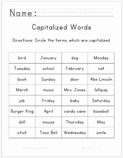Capitalization Worksheet Middle School Best Of Capitalization Worksheet Middle School Capitalization