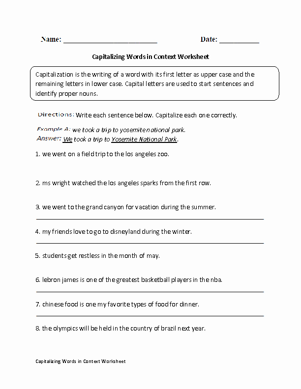 Capitalization Worksheet Middle School Best Of Capitalizing Words In Context Worksheet