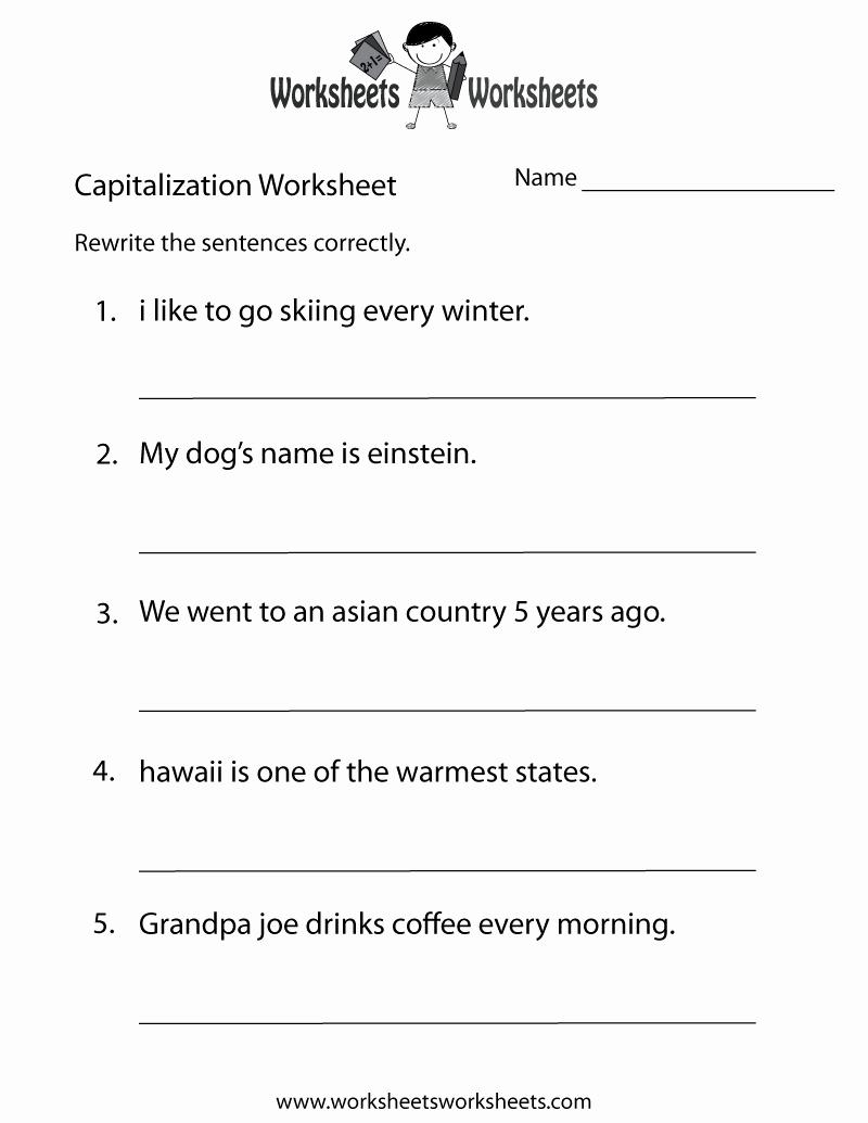 Capitalization Worksheet Middle School Best Of Middle School Capitalization Worksheet Free Printable