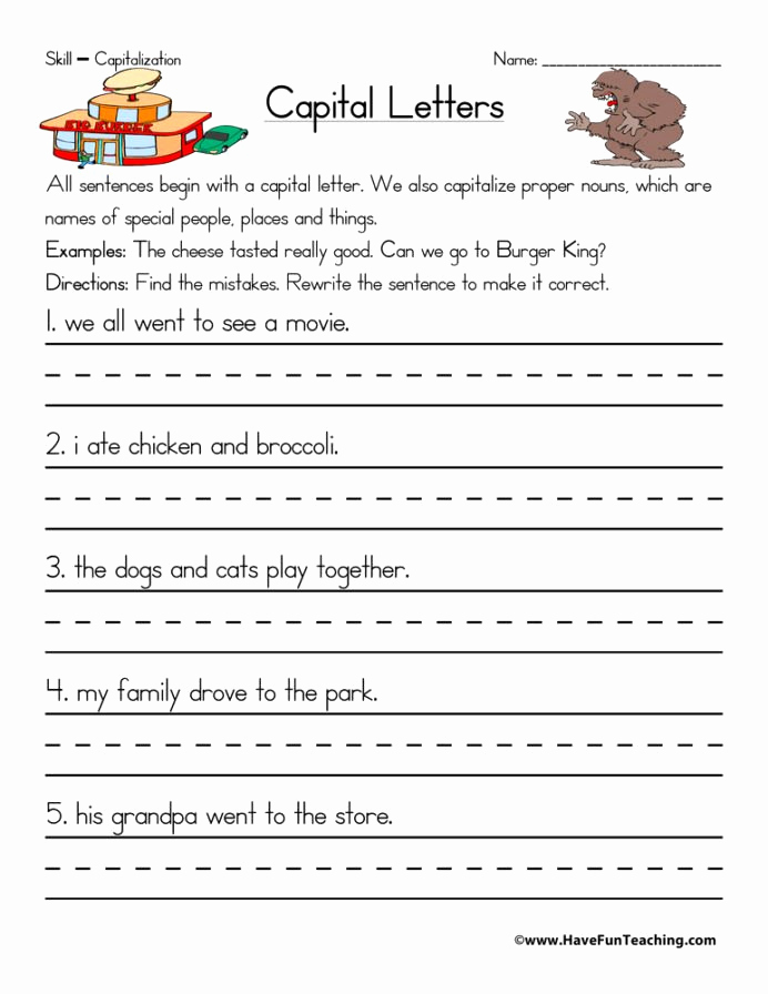 Capitalization Worksheet Middle School Fresh 12 Capitalization Worksheets for 2nd Grade