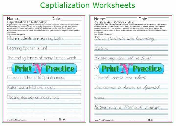 Capitalization Worksheet Middle School Luxury 42 Capitalization Worksheets ⭐ Rules List