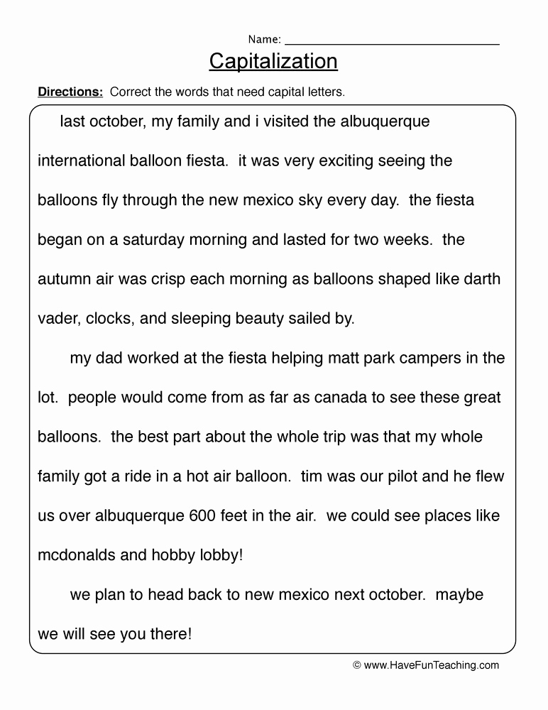 Capitalization Worksheet Middle School New Resources English Capitalization
