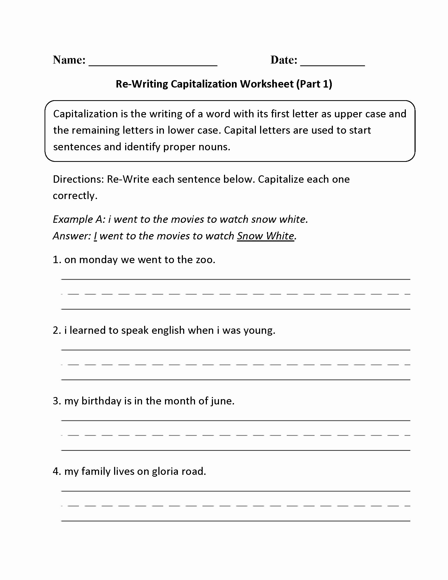 Capitalization Worksheets 4th Grade Pdf Elegant Capitalization Worksheet 4th Grade Calidad Y Mejora