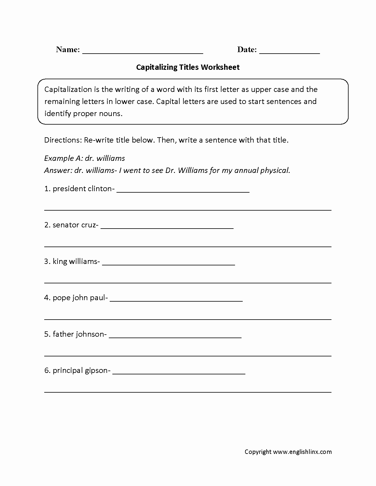 Capitalization Worksheets 4th Grade Pdf Fresh Englishlinx