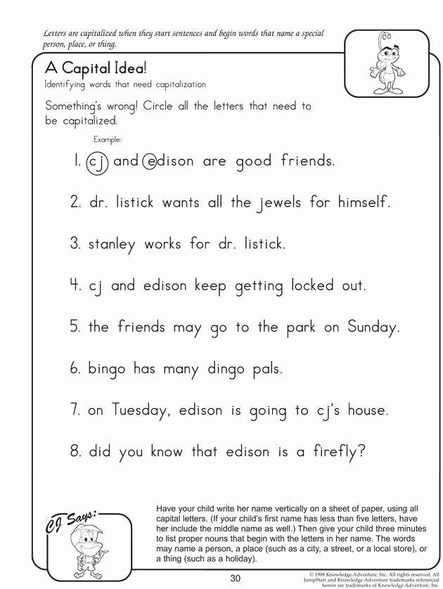 Capitalization Worksheets for 2nd Grade Awesome 2nd Grade Grammar Worksheets