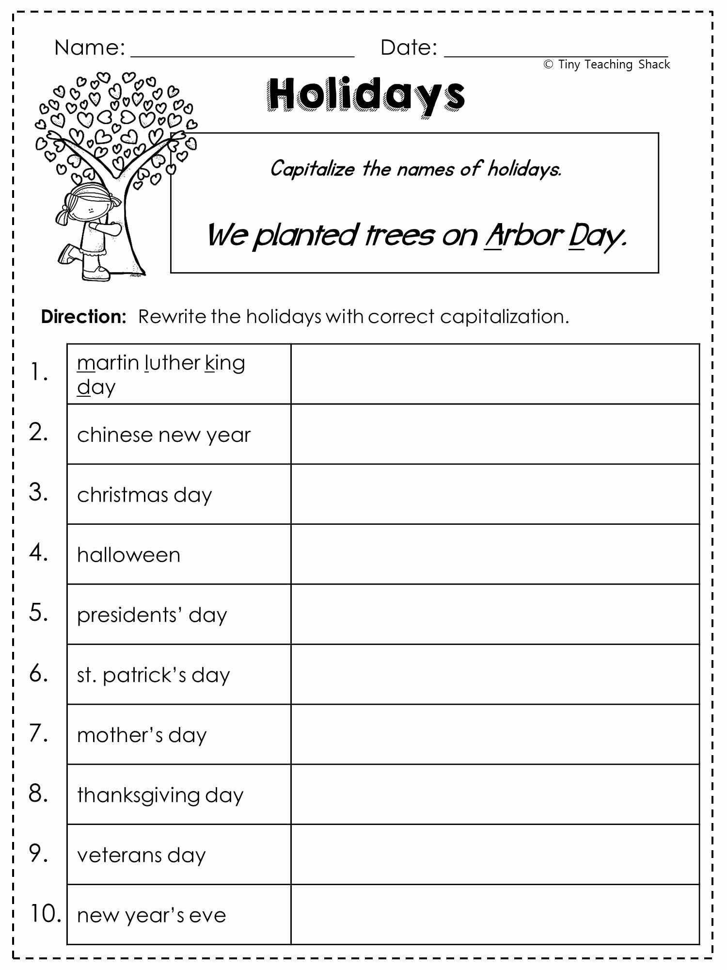 Capitalization Worksheets for 2nd Grade Best Of Free Capitalization Worksheet