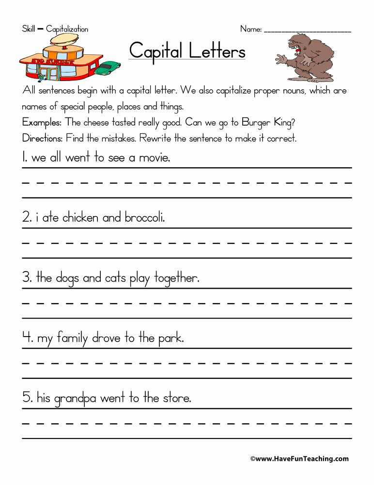 Capitalization Worksheets for 2nd Grade Fresh Capitalization Worksheets