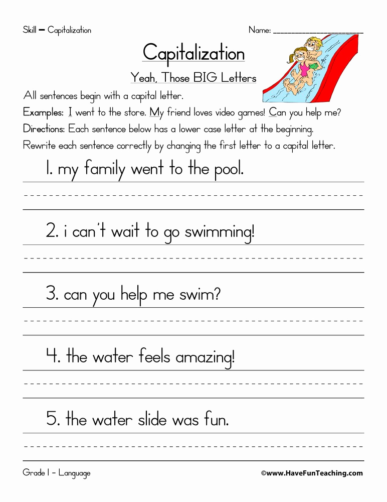 Capitalization Worksheets for 2nd Grade Fresh Editing Practice Second Grade Search Results