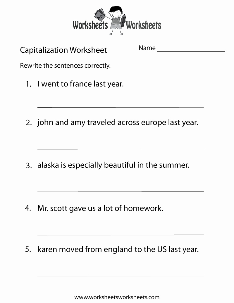 Capitalization Worksheets for 2nd Grade Luxury Capitalization Practice Worksheet Free Printable