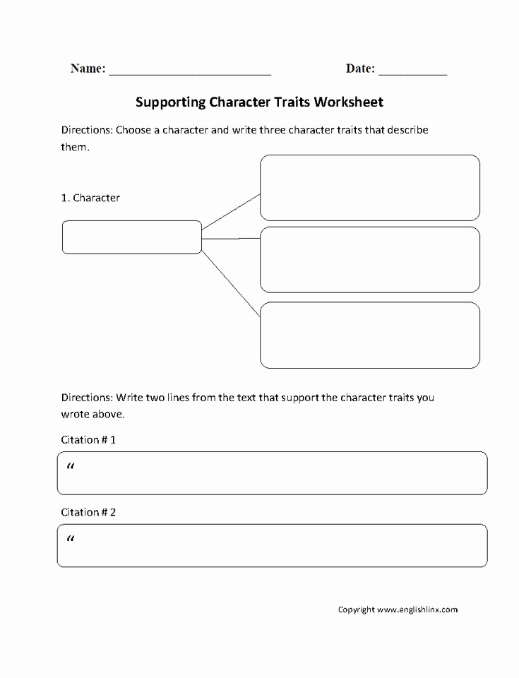 Character Traits Worksheet 2nd Grade Unique Character Traits Worksheet 4th Grade In 2020