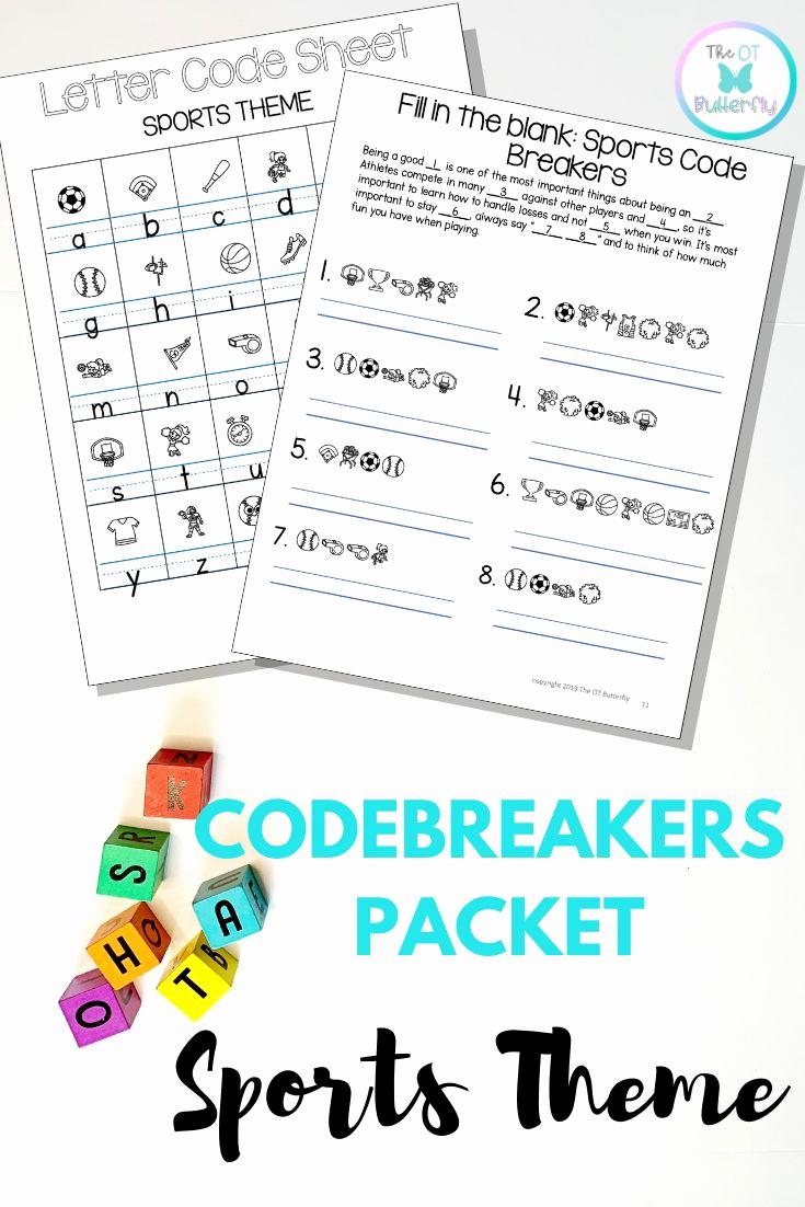 Code Breaker Worksheet Beautiful Cryptogram Code Breakers Worksheets Sports theme No Prep