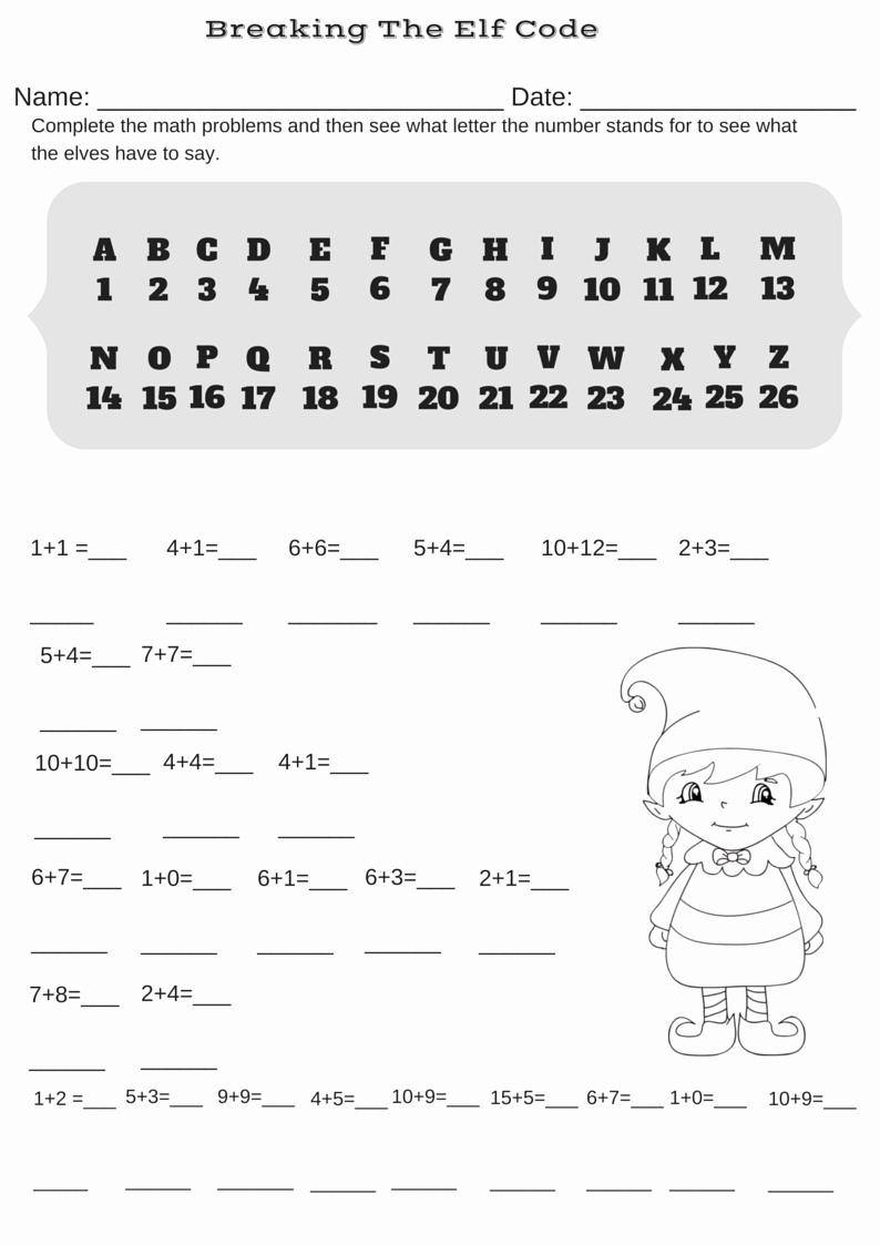 Code Breaker Worksheet Fresh Addition Christmas Code Breaker Worksheet Break the Elf
