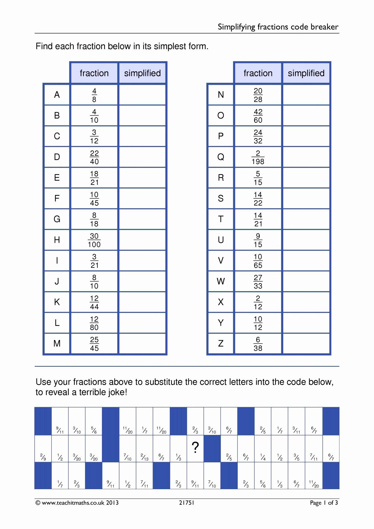 Code Breaker Worksheet Fresh Simplifying Fractions Code Breaker Math