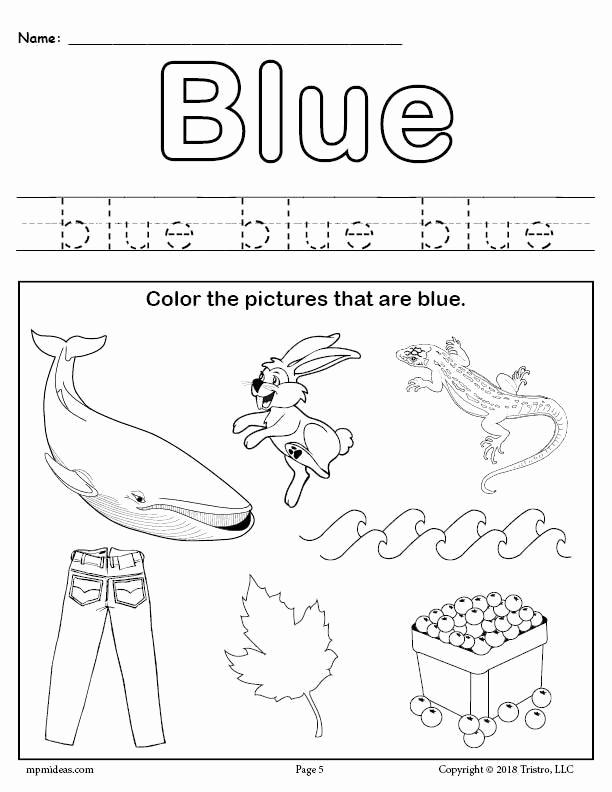 Color Blue Worksheets for Preschool Awesome Color Blue Worksheet