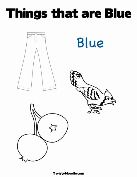 Color Blue Worksheets for Preschool Awesome Things that are Blue Coloring Page From Twistynoodle