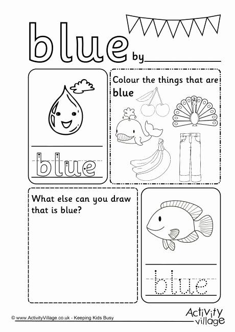 Color Blue Worksheets for Preschool Beautiful 29 Best Colors Activities Images On Pinterest