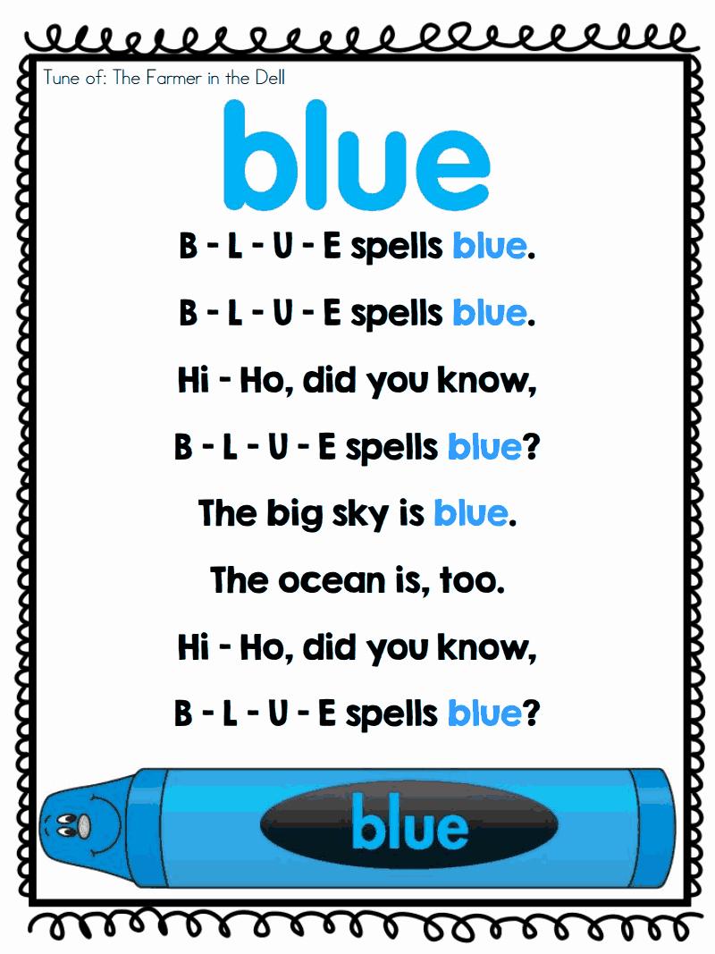 Color Blue Worksheets for Preschool Best Of Color Poems Pdf