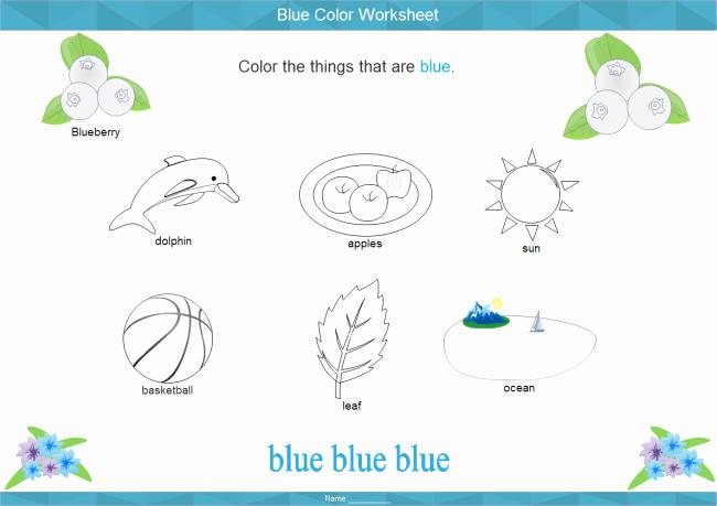 Color Blue Worksheets for Preschool Fresh Color Blue Worksheets for Preschoolers