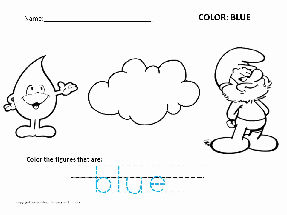 Color Blue Worksheets for Preschool Fresh Coloring Pages Recognizing Colors Blue Preschool