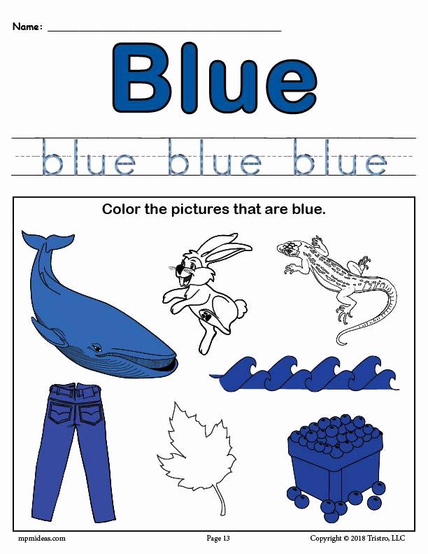Color Blue Worksheets for Preschool Inspirational Color Blue Worksheet – Supplyme