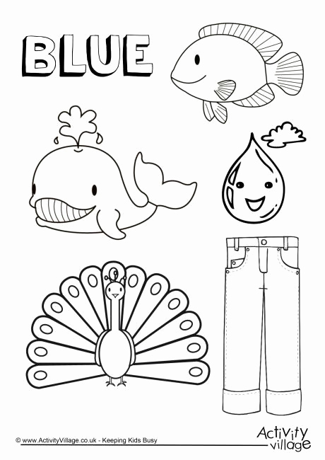 Color Blue Worksheets for Preschool Luxury Blue Things Colouring Page