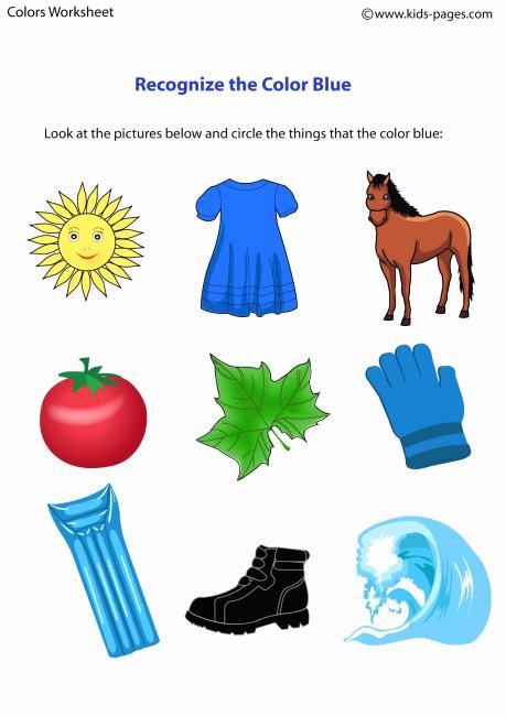 Color Blue Worksheets for Preschool Unique Color Blue Worksheet
