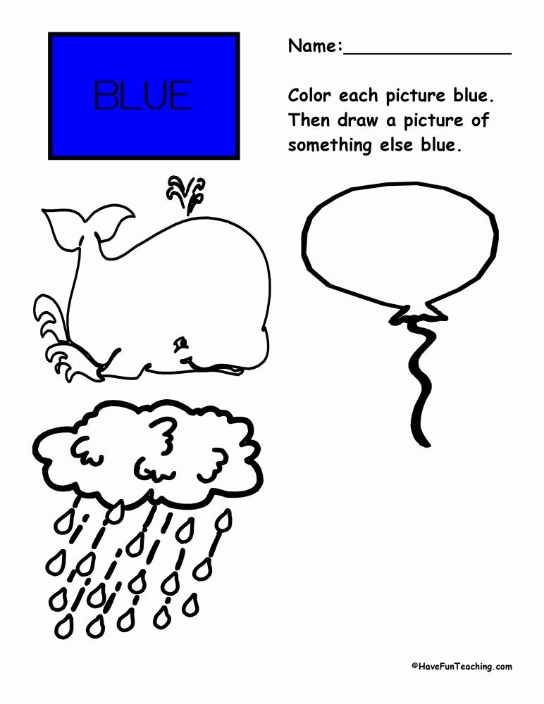 Color Blue Worksheets for Preschool Unique Colors Worksheets
