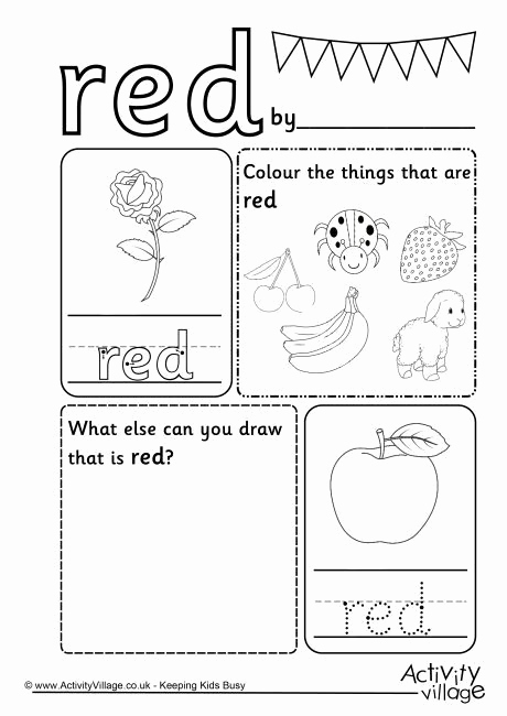 Color Red Worksheets for toddlers Beautiful Red Colour Worksheet