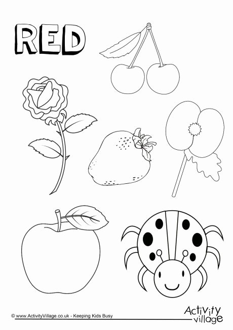 Color Red Worksheets for toddlers Beautiful Red Things Colouring Page Colors