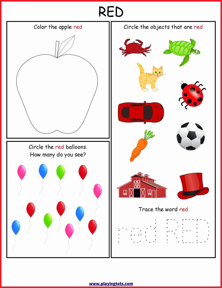 Color Red Worksheets for toddlers Beautiful Worksheet Color Red Free Printable toddler Preschool Kids