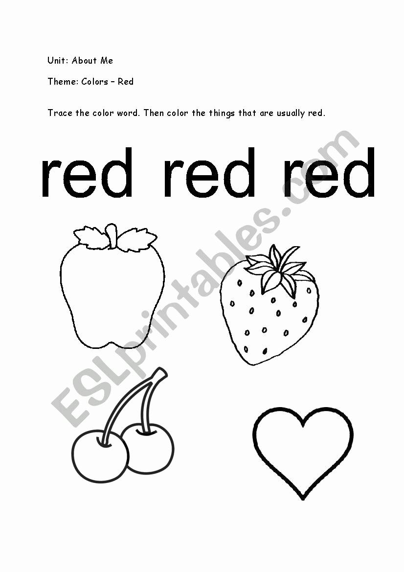 Color Red Worksheets for toddlers Fresh Color Red Esl Worksheet by Ie