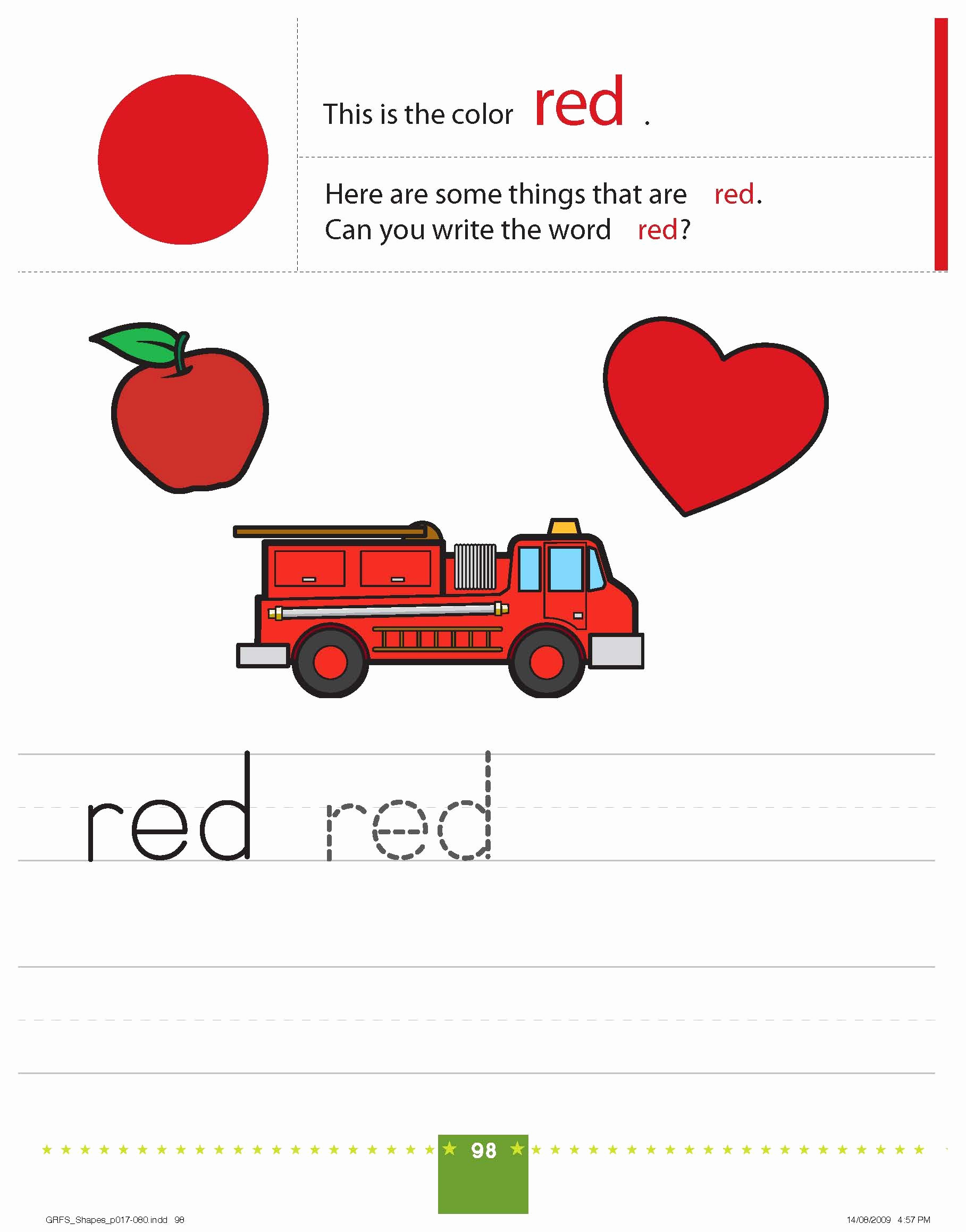 Color Red Worksheets for toddlers Fresh Teaching Colors Red