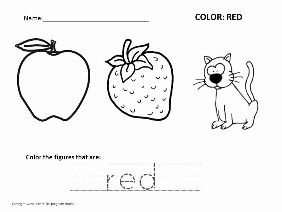 Color Red Worksheets for toddlers Fresh Worksheets Coloring Page Nursery Clip Art Library