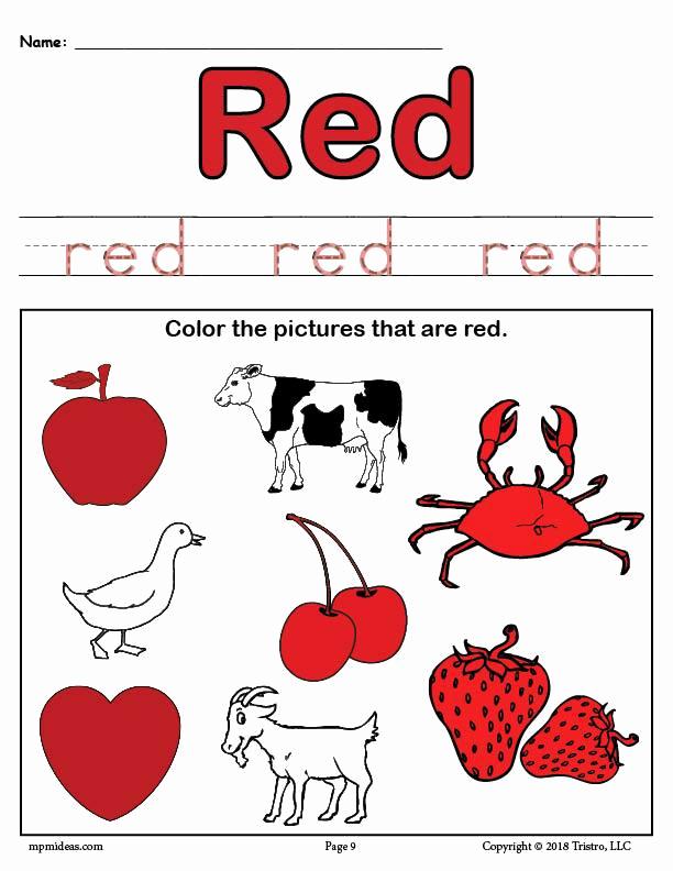 Color Red Worksheets for toddlers Inspirational Free Color Red Worksheet – Supplyme