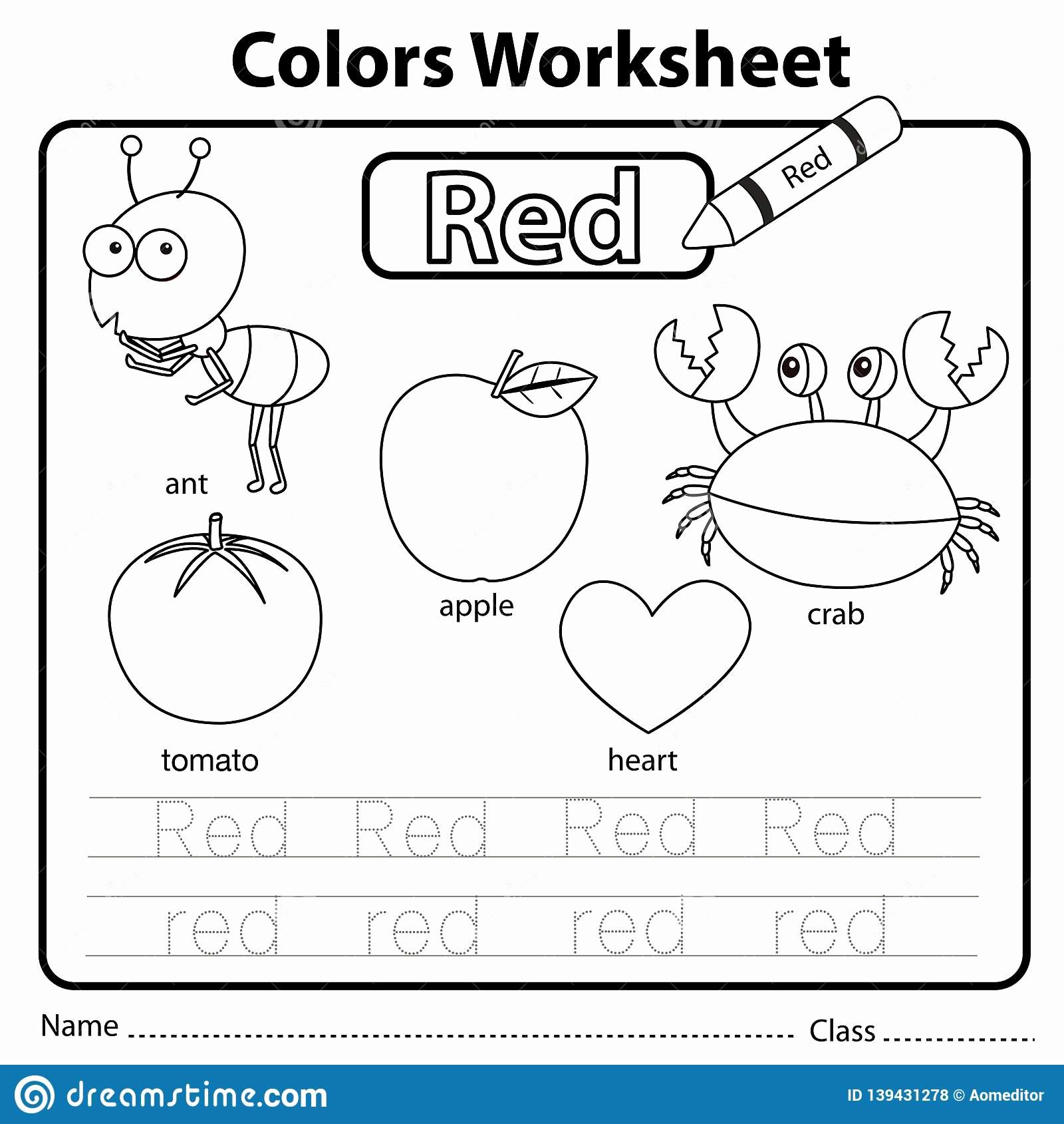 Color Red Worksheets for toddlers Lovely Illustrator Color Worksheet Red Stock Vector