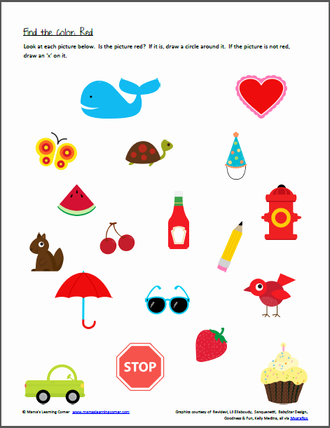 Color Red Worksheets for toddlers New Color Recognition Find the Color Red