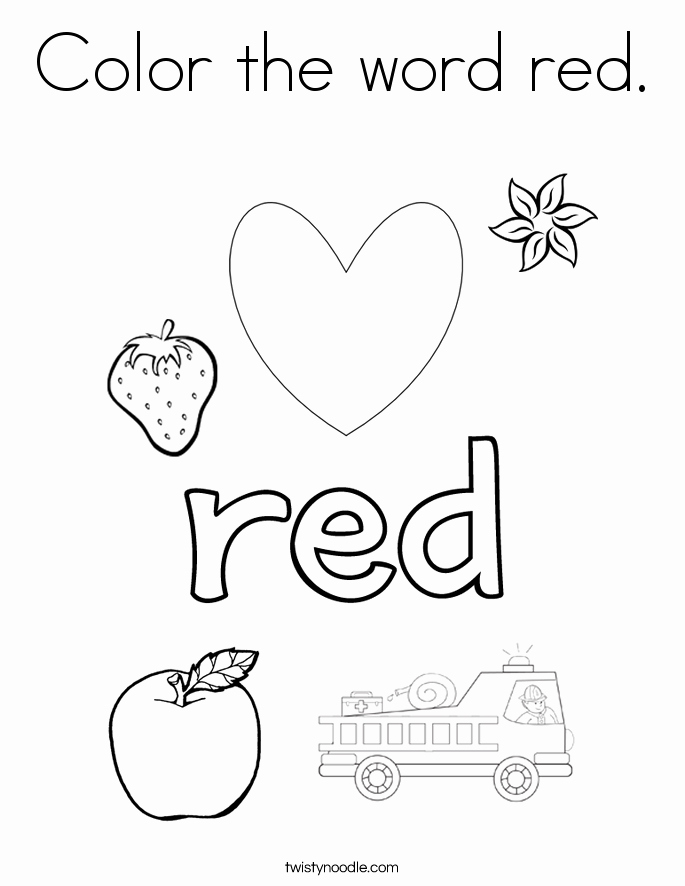 Color Red Worksheets for toddlers New Color the Word Red Coloring Page Twisty Noodle