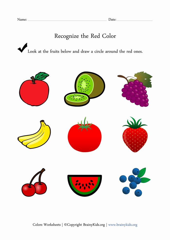 Color Red Worksheets for toddlers New Recognize the Red Color Fruits Worksheet for Early