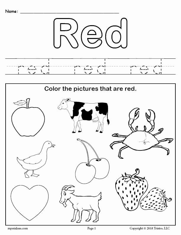 Color Red Worksheets for toddlers Unique Color Red Worksheet