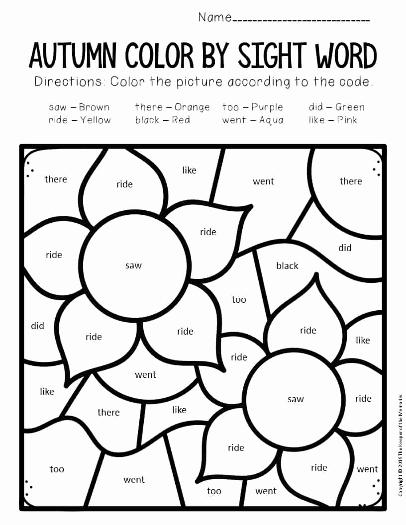 Color Sight Word Worksheets Best Of Color by Sight Word Fall Kindergarten Worksheets Flowers