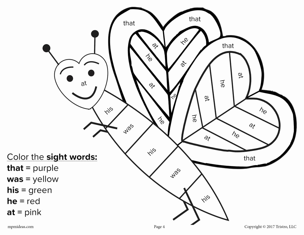 Color Sight Word Worksheets Fresh Valentine S Day Color by Sight Word 4 Free Printable