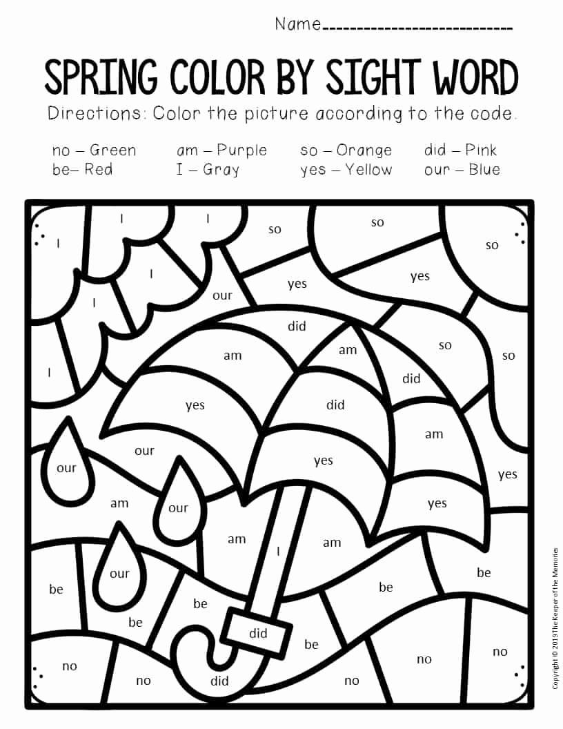 Color Sight Word Worksheets Inspirational Color by Sight Word Spring Kindergarten Worksheets