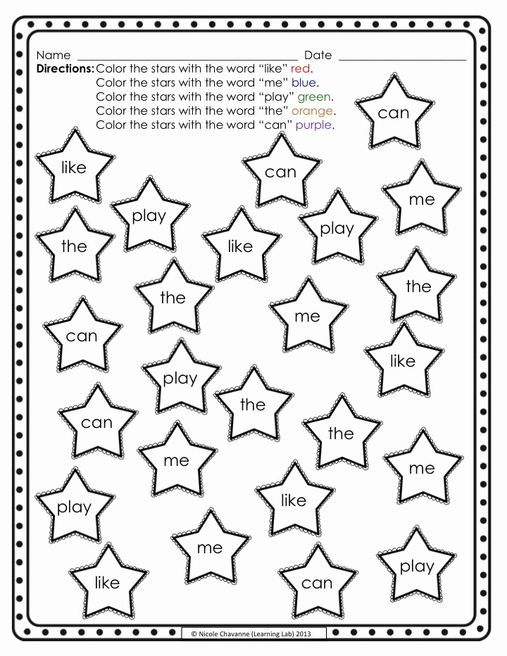 Color Sight Word Worksheets Inspirational Color the Sight Words Stars