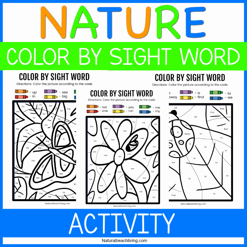 Color Sight Word Worksheets Luxury Nature Color by Sight Word Kindergarten Worksheets