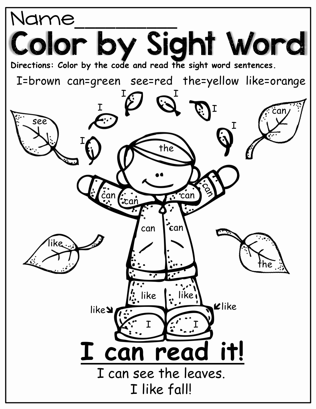 Color Sight Word Worksheets Luxury the Moffatt Girls Fall Math and Literacy Packet