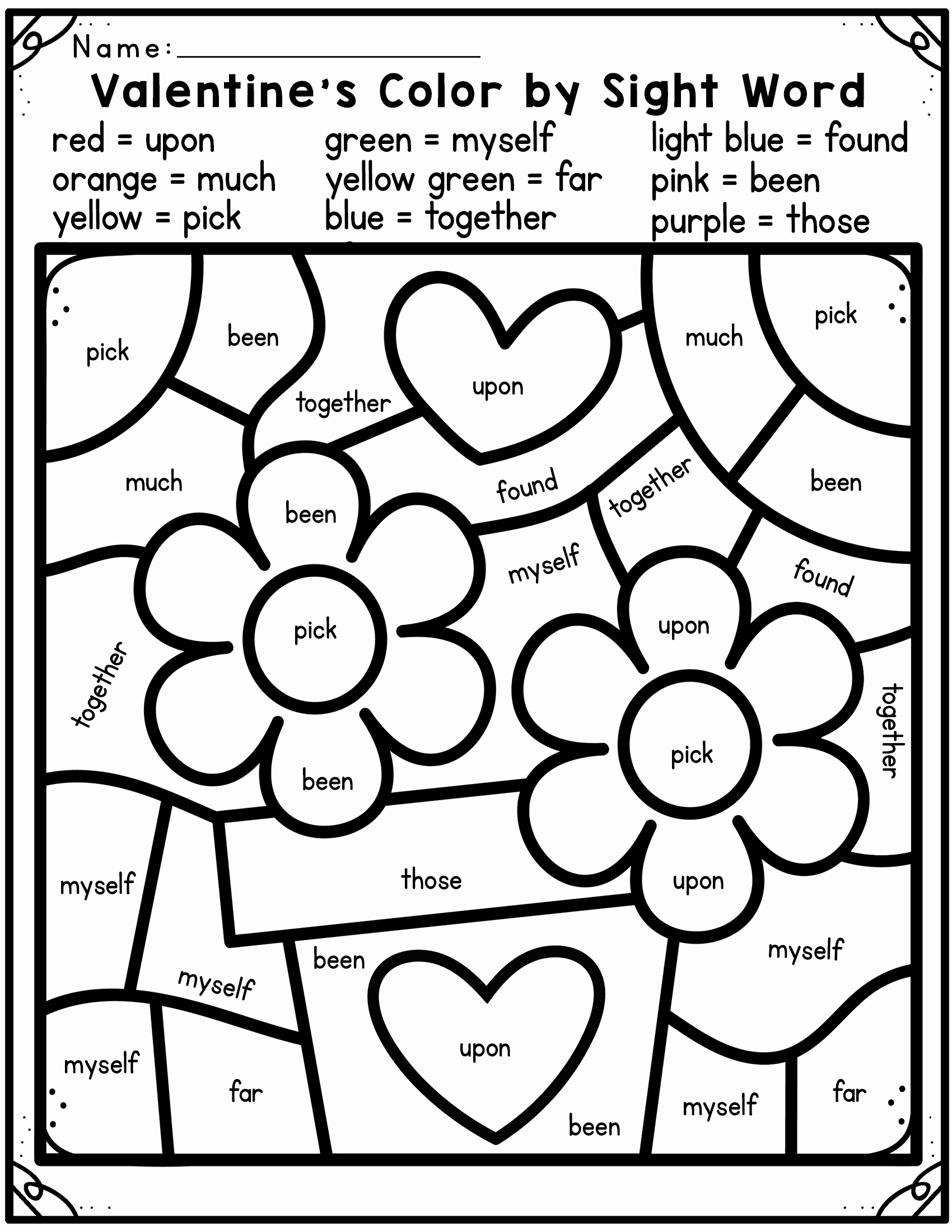 Color Sight Word Worksheets Luxury Valentine S Day Color by Sight Word Madebyteachers