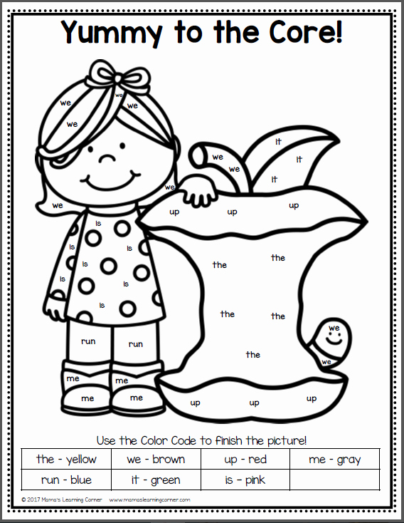 Color Sight Word Worksheets Unique Color by Sight Word Apples Mamas Learning Corner